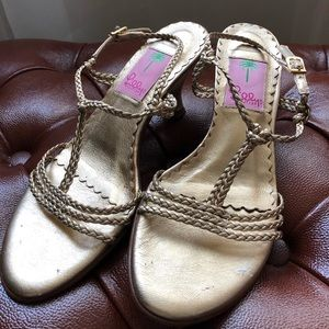 ✨Lilly Pulitzer Gold Heels ✨ size 6M